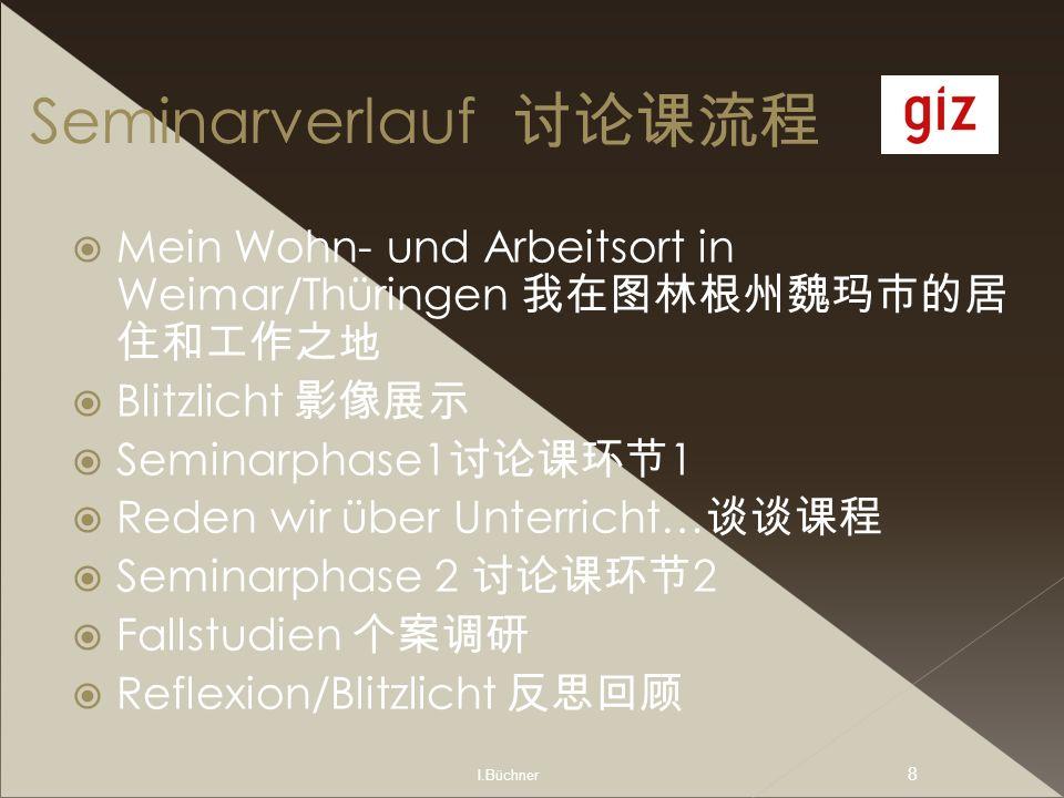 I.Büchner 8 Seminarverlauf Mein Wohn- und Arbeitsort in Weimar/Thüringen Blitzlicht Seminarphase1 1 Reden wir über Unterricht… Seminarphase 2 2 Fallst
