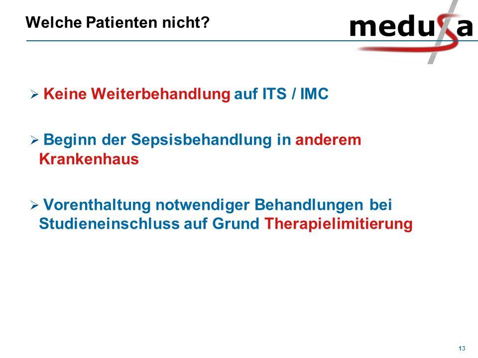 13 Welche Patienten nicht? Keine Weiterbehandlung auf ITS / IMC Beginn der Sepsisbehandlung in anderem Krankenhaus Vorenthaltung notwendiger Behandlun