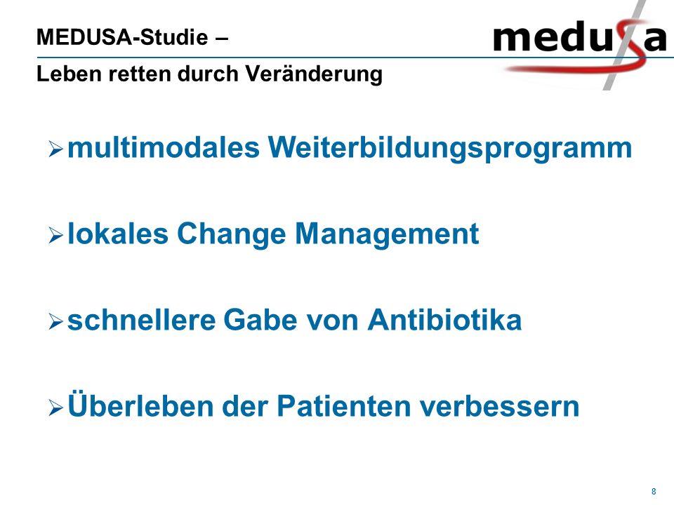 8 MEDUSA-Studie – Leben retten durch Veränderung multimodales Weiterbildungsprogramm lokales Change Management schnellere Gabe von Antibiotika Überleb