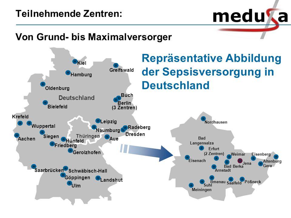 Teilnehmende Zentren: Von Grund- bis Maximalversorger Aachen Buch Berlin (3 Zentren) Göppingen Greifswald Siegen Ulm Schwäbisch-Hall Naumburg Deutschl