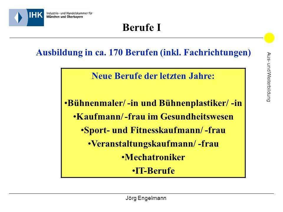 Jörg Engelmann Aus- und Weiterbildung Berufe I Ausbildung in ca. 170 Berufen (inkl. Fachrichtungen) Neue Berufe der letzten Jahre: Bühnenmaler/ -in un