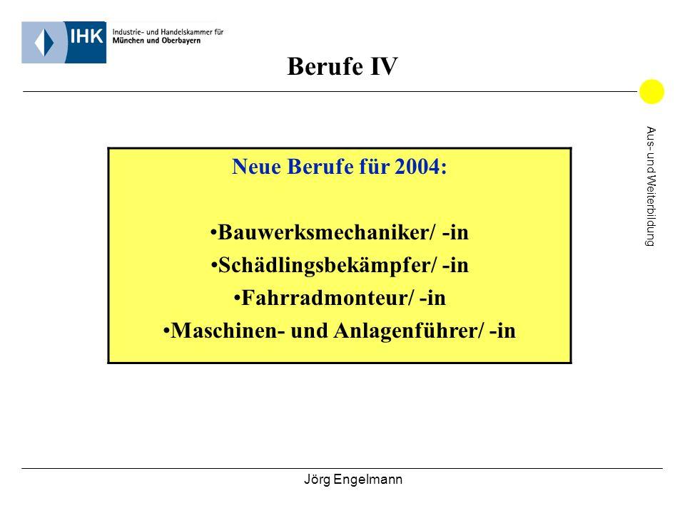 Jörg Engelmann Aus- und Weiterbildung Berufe IV Neue Berufe für 2004: Bauwerksmechaniker/ -in Schädlingsbekämpfer/ -in Fahrradmonteur/ -in Maschinen-