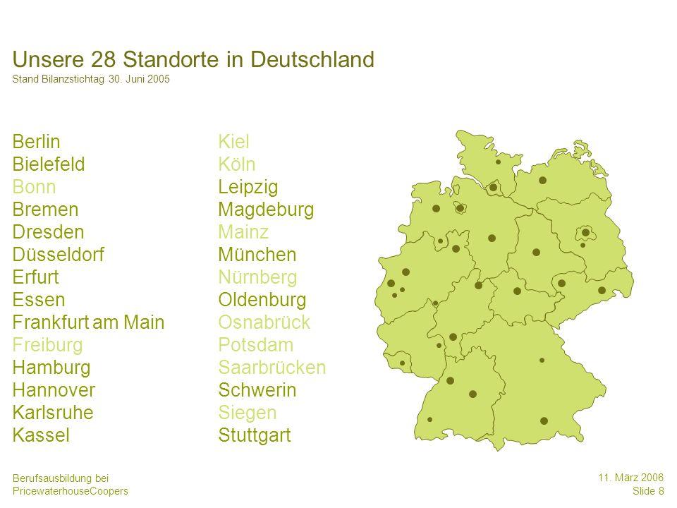 Berufsausbildung bei PricewaterhouseCoopers 11. März 2006 Slide 8 Unsere 28 Standorte in Deutschland Stand Bilanzstichtag 30. Juni 2005 Berlin Kiel Bi