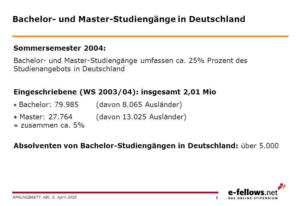 1 Bachelor- und Master-Studiengänge in Deutschland Sommersemester 2004: Bachelor- und Master-Studiengänge umfassen ca.