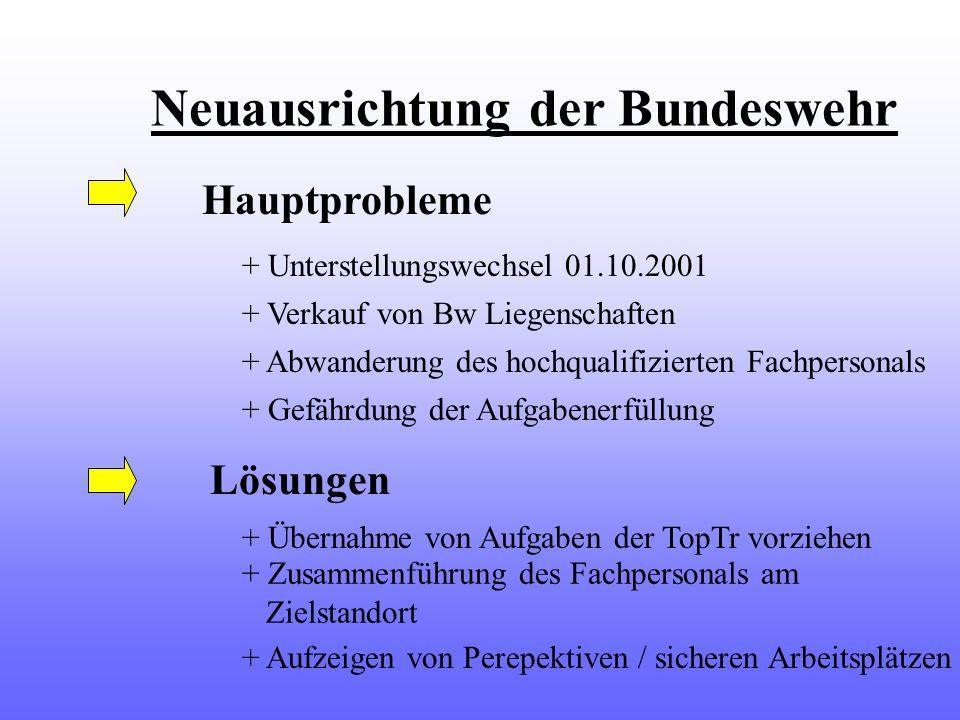 Neuausrichtung der Bundeswehr Hauptprobleme + Unterstellungswechsel 01.10.2001 + Verkauf von Bw Liegenschaften + Abwanderung des hochqualifizierten Fa