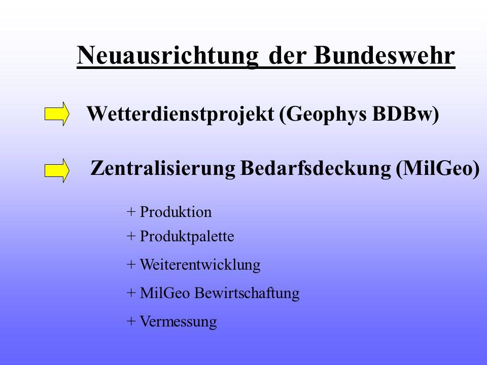 Neuausrichtung der Bundeswehr Wetterdienstprojekt (Geophys BDBw) Zentralisierung Bedarfsdeckung (MilGeo) + Produktion + Produktpalette + Weiterentwick