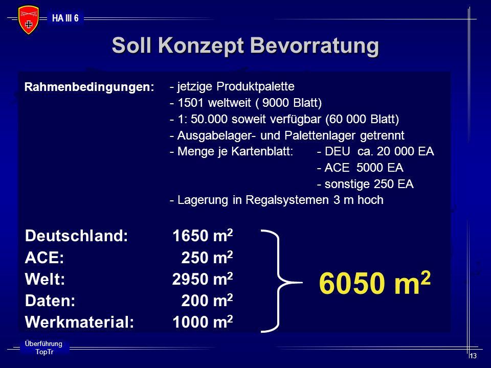 HA III 6 Überführung TopTr 13 - jetzige Produktpalette - 1501 weltweit ( 9000 Blatt) - 1: 50.000 soweit verfügbar (60 000 Blatt) - Ausgabelager- und P