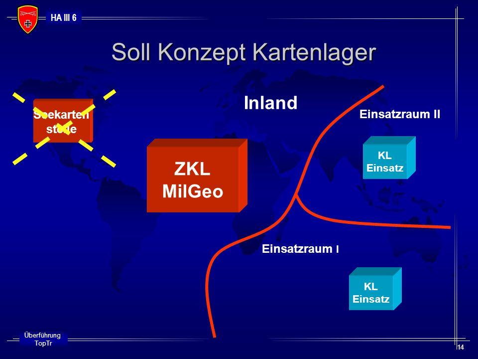 HA III 6 Überführung TopTr 14 Soll Konzept Kartenlager Inland Einsatzraum I Einsatzraum II Seekarten stelle ZKL MilGeo KL Einsatz KL Einsatz