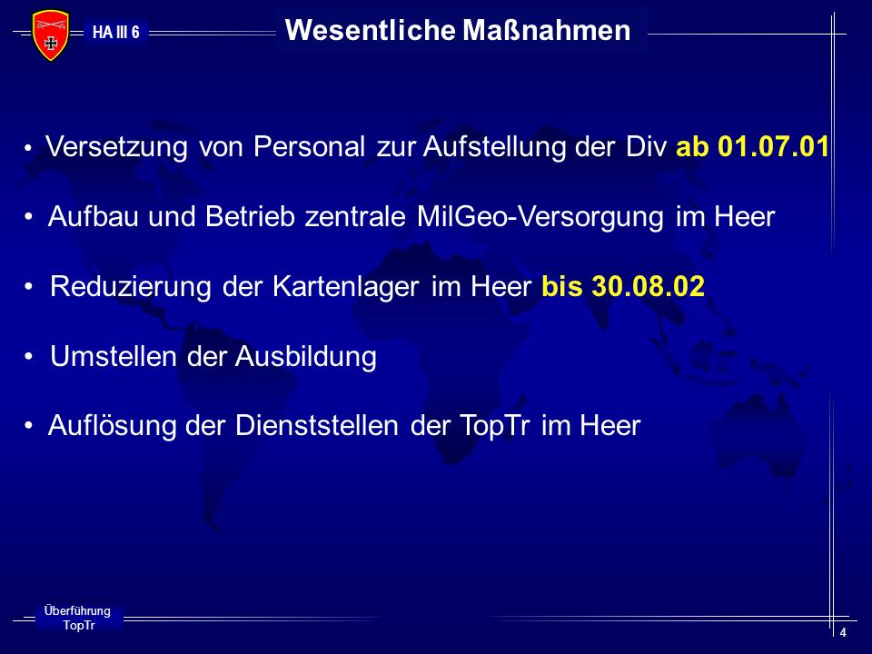 HA III 6 Überführung TopTr 4 Wesentliche Maßnahmen Versetzung von Personal zur Aufstellung der Div ab 01.07.01 Aufbau und Betrieb zentrale MilGeo-Vers