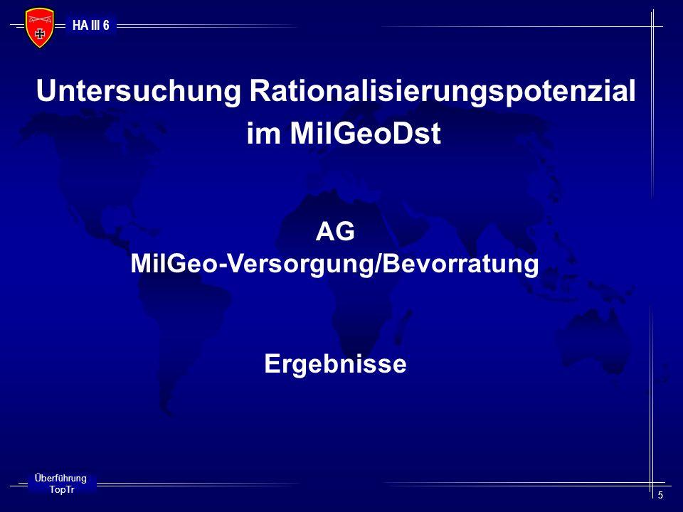 HA III 6 Überführung TopTr 5 Untersuchung Rationalisierungspotenzial im MilGeoDst AG MilGeo-Versorgung/Bevorratung Ergebnisse
