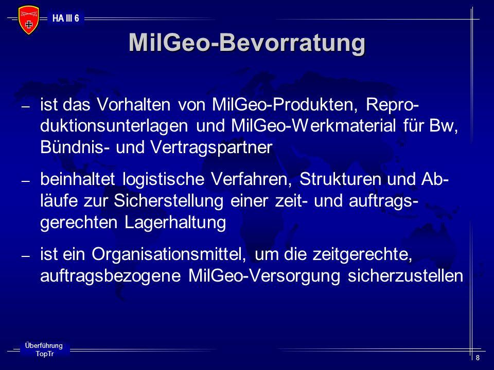 HA III 6 Überführung TopTr 8 – ist das Vorhalten von MilGeo-Produkten, Repro- duktionsunterlagen und MilGeo-Werkmaterial für Bw, Bündnis- und Vertrags