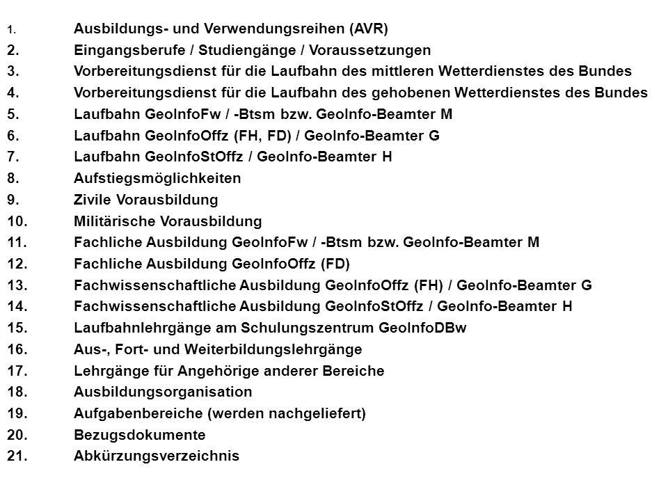 Aufstiegsmöglichkeiten GeoInfoFw/-Btsm zum GeoInfoOffz FD bzw.