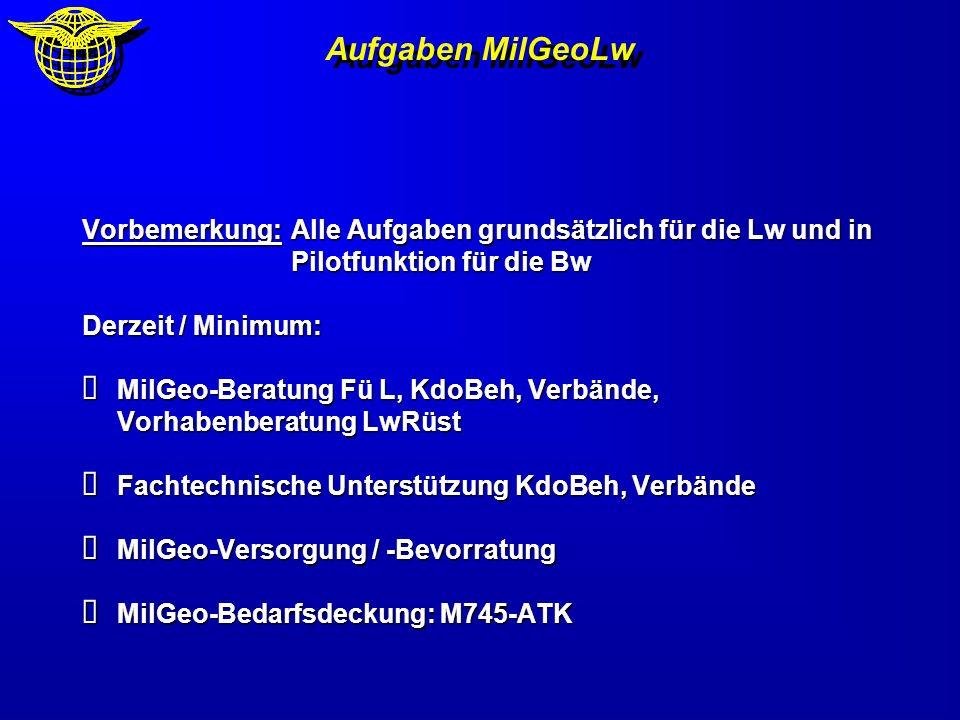 Vorbemerkung:Alle Aufgaben grundsätzlich für die Lw und in Pilotfunktion für die Bw Derzeit / Minimum: MilGeo-Beratung Fü L, KdoBeh, Verbände, Vorhabe
