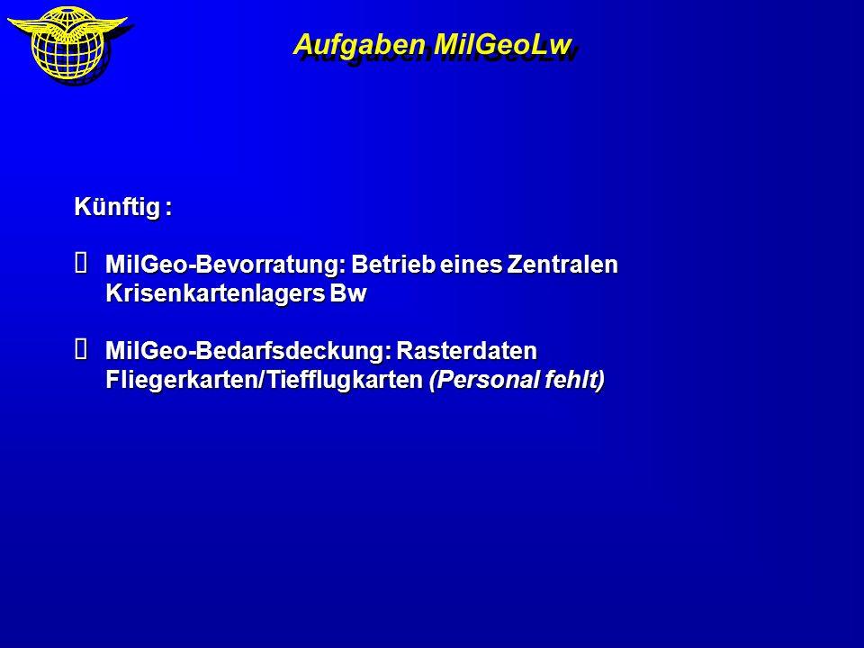 Aufgaben MilGeoLw Künftig : MilGeo-Bevorratung: Betrieb eines Zentralen Krisenkartenlagers Bw MilGeo-Bevorratung: Betrieb eines Zentralen Krisenkarten