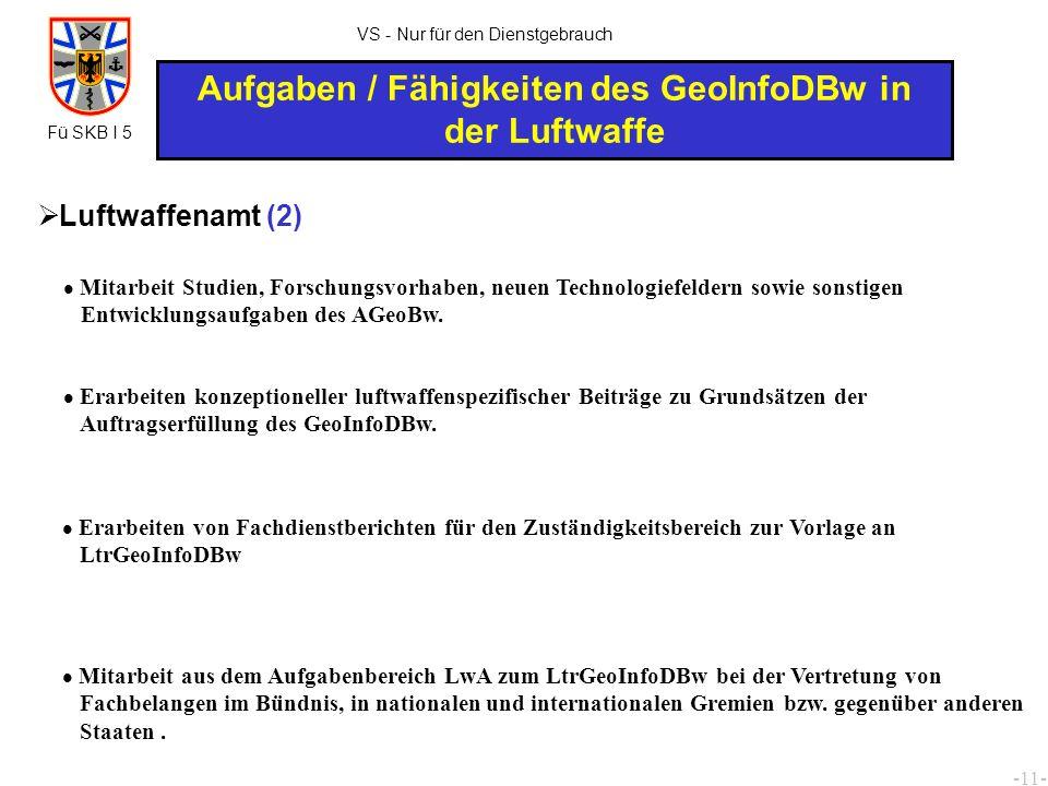 -12- VS - Nur für den Dienstgebrauch Aufgaben / Fähigkeiten des GeoInfoDBw in der Luftwaffe Luftwaffenamt (3) Teilnahme an nationalen und internationalen Fachtagungen und deren Auswertung.