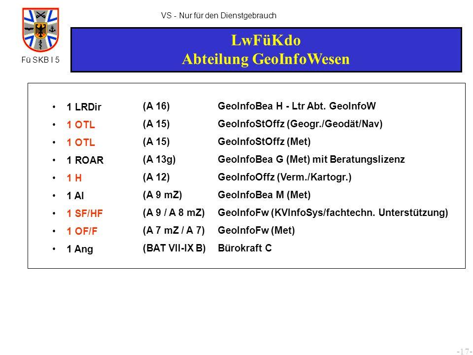 -18- VS - Nur für den Dienstgebrauch Luftwaffendivisionen Abteilung GeoInfoWesen 1 OTL 1 H 1 SF/HF 1 OF/F (A 15) (A 12) (A 9 / A 8 mZ) (A 7 mZ / A 7) GeoInfoStOffz (Met) - Ltr Abt.