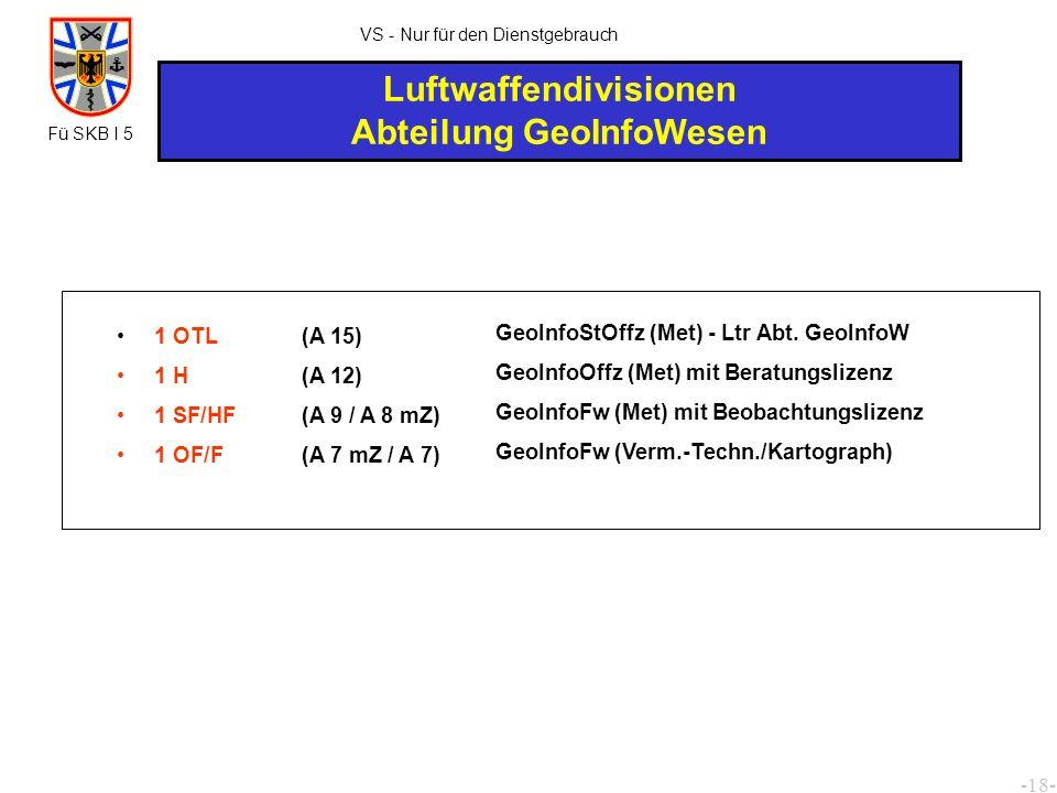 -19- VS - Nur für den Dienstgebrauch KdoOpFüLuSk/ CAOC 2/DCAOC/ RFAS 2 RAR 2 RAmtm 2 ROI/RI 6 ROS/RS (A 12) (A 11) (A 10 / A 9) (A 7 / A 6) GeoInfoBea G (Met) mit Beratungslizenz GeoInfoBea M (Met) Beratungsgruppe: Beobachtungsgruppe: 1 AI 3 RHS 3 ROS/RS (A 9m) (A 8) (A 7 / A 6) GeoInfoBea M (Met) mit Beobachtungslizenz 1 OTL 1 SF/HF (A 15) (A 9/A 8 mZ) GeoInfoStOffz (Met) 1) - Ltr GeoInfoW/KdoOpFüLuSk - Ltr GeophysBSt/CAOC 2 - Geophysikberater - GeoInfoBeratung für RFAS GeoInfoFw (Met) - für KdoOpFüLuSk 1) zugleich für DCAOC Fü SKB I 5