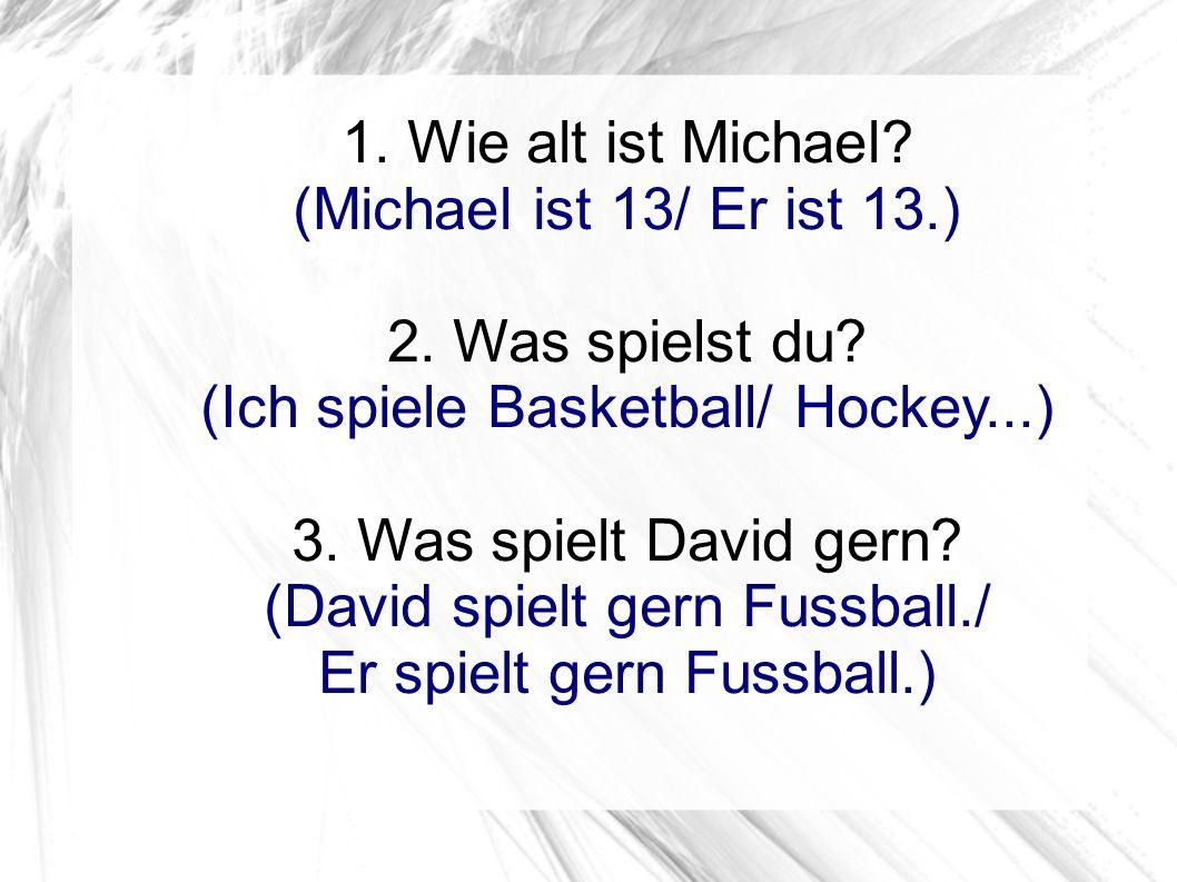 1. Wie alt ist Michael? (Michael ist 13/ Er ist 13.) 2. Was spielst du? (Ich spiele Basketball/ Hockey...) 3. Was spielt David gern? (David spielt ger