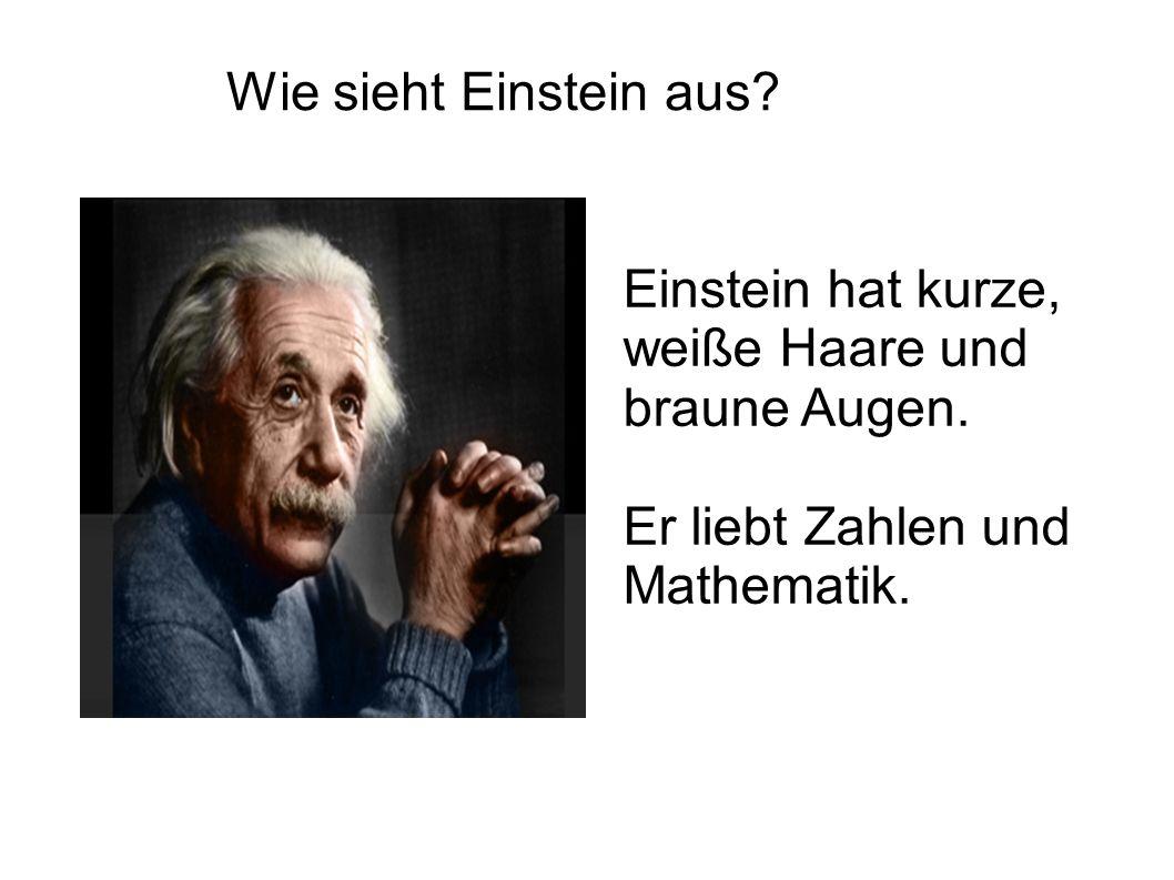 Wie sieht Einstein aus? Einstein hat kurze, weiße Haare und braune Augen. Er liebt Zahlen und Mathematik.