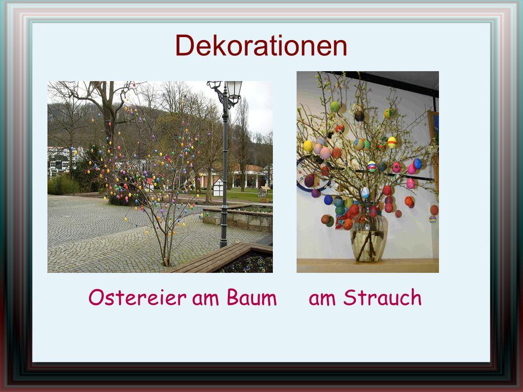 Dekorationen Ostereier am Baum am Strauch