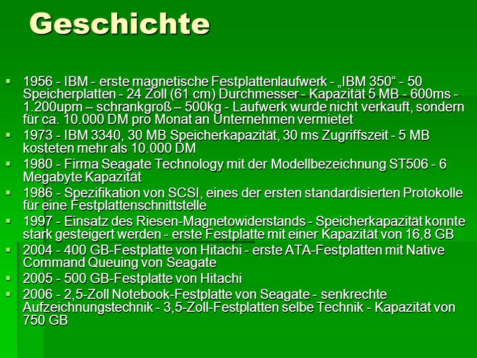 Speicherkapazitäten - Baugrößen Jahr5,253,52,51,81,00,85 Typische Modelle 1983 20 MB --------------- 20-MB-Festplatte im IBM PC XT 1989 80 MB 40 MB ------------ Seagate ST4096, NEC D3142 1993 650 MB 120 MB ------------ Micropolis mit 650 MB 5.25 FH 1995 4096 MB 850 MB ------------ Western Digital mit 850 MB 1997 12 GB 8 GB 2 GB --------- Quantum Bigfoot (12 GB, 5,25), Nov.