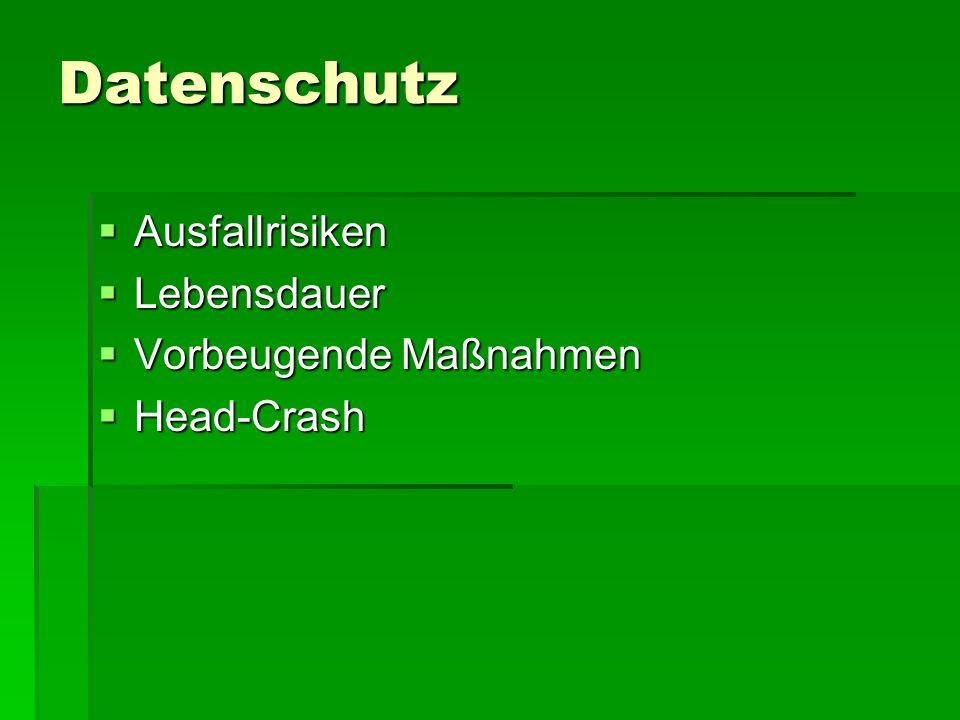 Datenschutz Ausfallrisiken Ausfallrisiken Lebensdauer Lebensdauer Vorbeugende Maßnahmen Vorbeugende Maßnahmen Head-Crash Head-Crash