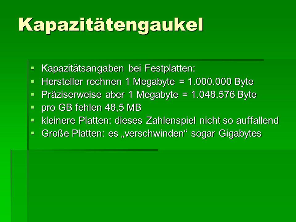 Kapazitätengaukel Kapazitätsangaben bei Festplatten: Kapazitätsangaben bei Festplatten: Hersteller rechnen 1 Megabyte = 1.000.000 Byte Hersteller rech