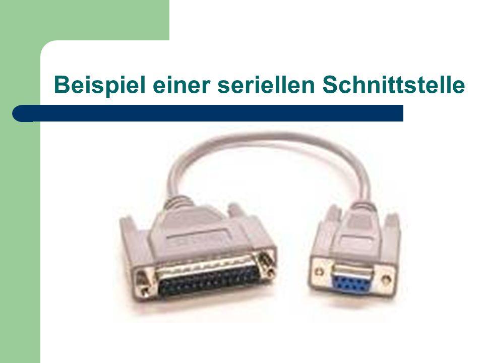 Was ist eine serielle Schnittstelle? serielle (nacheinander) Übertragung der Daten 9- oder 25-polig COM Port – logische Bezeichnung d. Schnittstelle