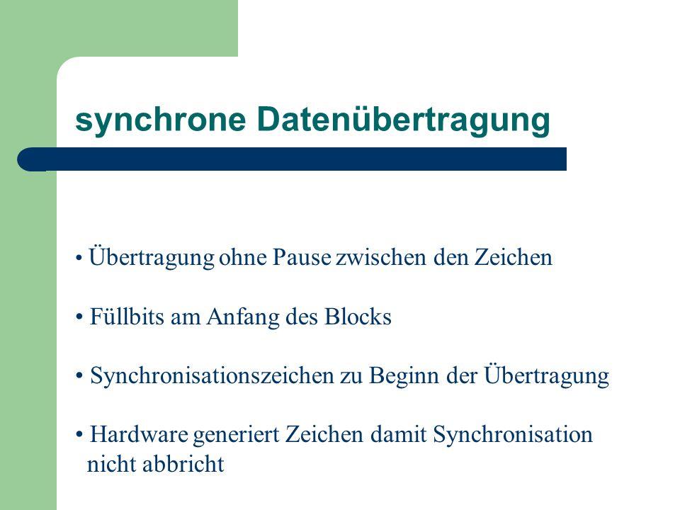 asynchrone Datenübertragung Einrahmung durch Start- und Stoppbit dadurch: eindeutige Erkennung der Datenbitfolge aber: Übertragungsrate wird gesenkt