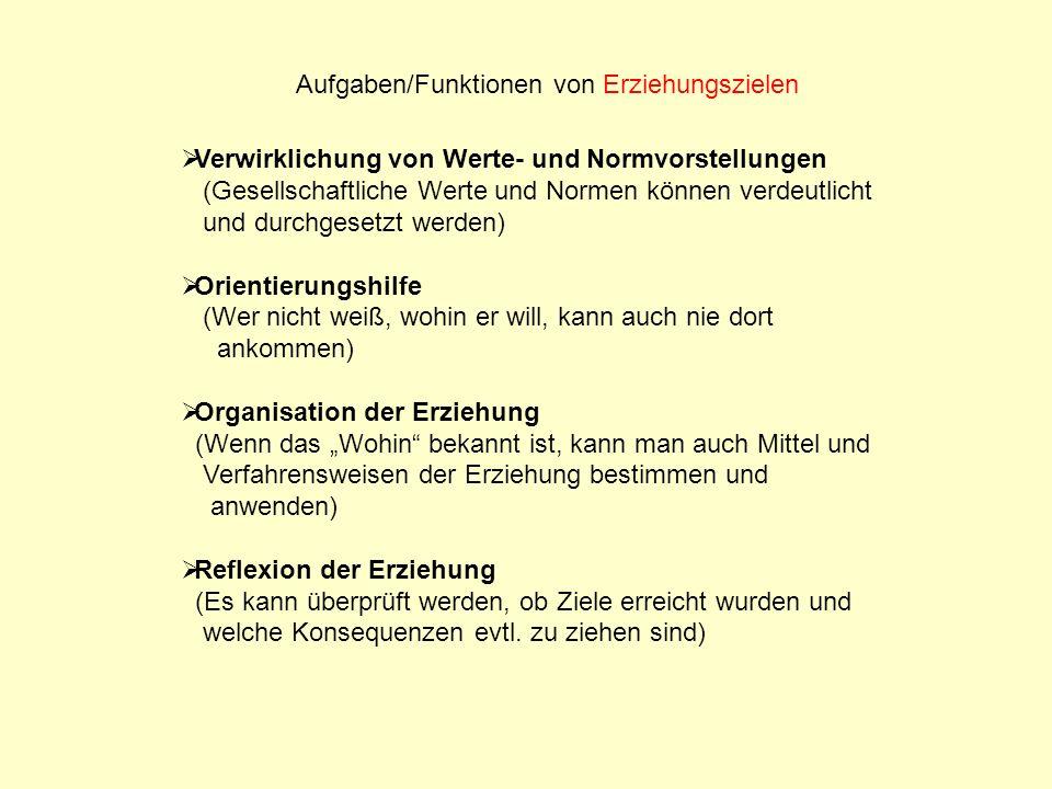Aufgaben/Funktionen von Erziehungszielen Verwirklichung von Werte- und Normvorstellungen (Gesellschaftliche Werte und Normen können verdeutlicht und d