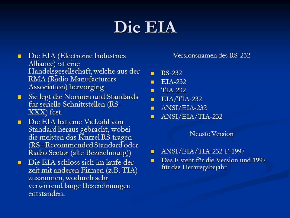 Die EIA Die EIA (Electronic Industries Alliance) ist eine Handelsgesellschaft, welche aus der RMA (Radio Manufacturers Association) hervorging. Die EI