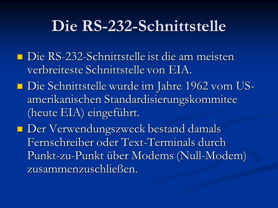 Die RS-232-Schnittstelle Die RS-232-Schnittstelle ist die am meisten verbreiteste Schnittstelle von EIA. Die RS-232-Schnittstelle ist die am meisten v