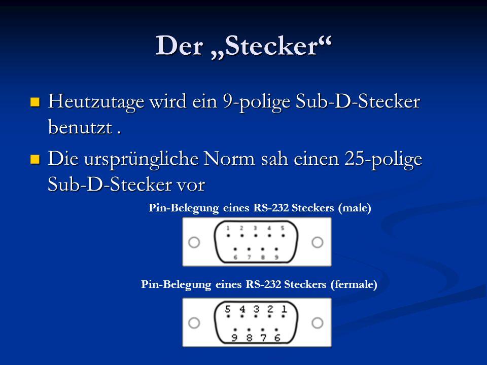 Der Stecker Heutzutage wird ein 9-polige Sub-D-Stecker benutzt. Heutzutage wird ein 9-polige Sub-D-Stecker benutzt. Die ursprüngliche Norm sah einen 2
