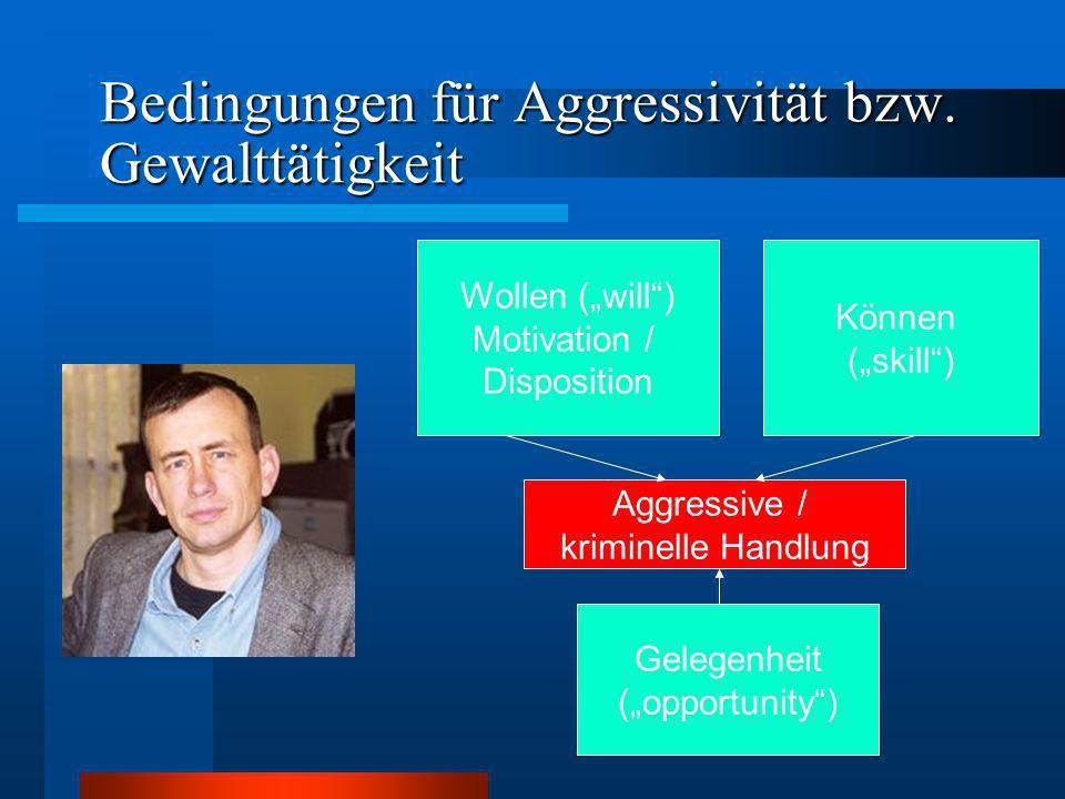Bedingungen für Aggressivität bzw. Gewalttätigkeit Wollen (will) Motivation / Disposition Können (skill) Gelegenheit (opportunity) Aggressive / krimin