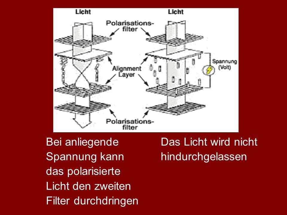 Bei anliegendeDas Licht wird nicht Spannung kannhindurchgelassen das polarisierte Licht den zweiten Filter durchdringen