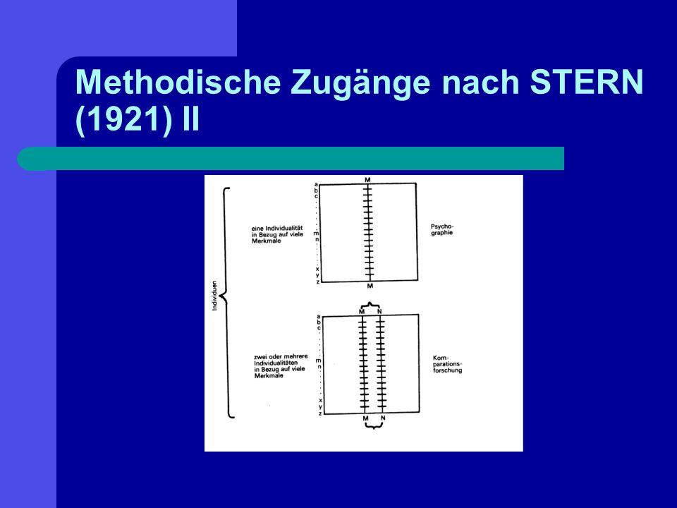 Methodische Zugänge nach STERN (1921) II
