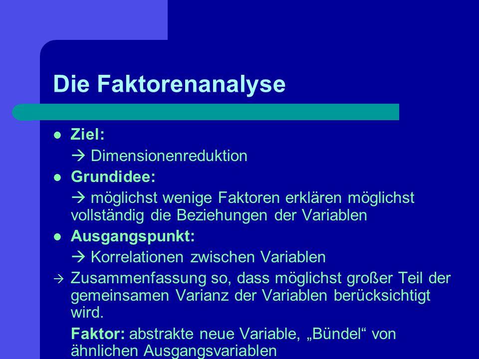 Die Faktorenanalyse Ziel: Dimensionenreduktion Grundidee: möglichst wenige Faktoren erklären möglichst vollständig die Beziehungen der Variablen Ausga