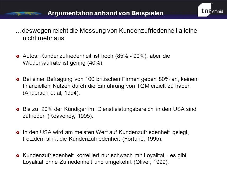 Argumentation anhand von Beispielen …deswegen reicht die Messung von Kundenzufriedenheit alleine nicht mehr aus: Autos: Kundenzufriedenheit ist hoch (