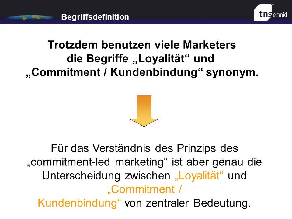 Begriffsdefinition Trotzdem benutzen viele Marketers die Begriffe Loyalität und Commitment / Kundenbindung synonym. Für das Verständnis des Prinzips d