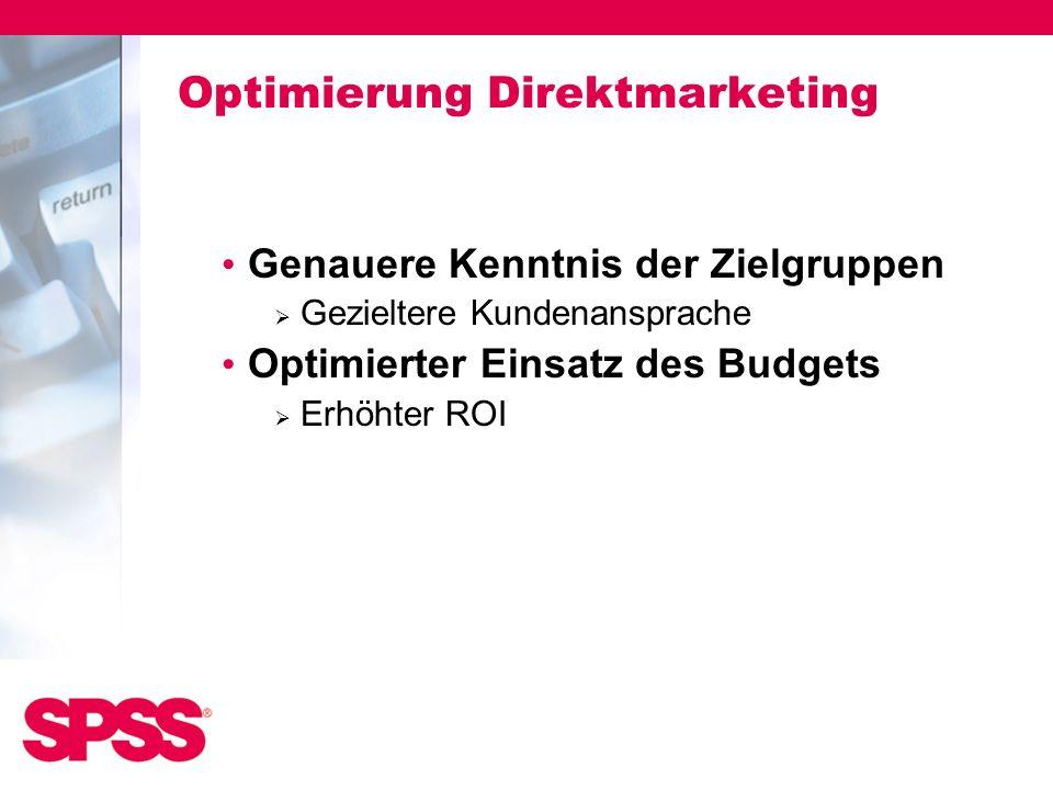 Optimierung Direktmarketing Genauere Kenntnis der Zielgruppen Gezieltere Kundenansprache Optimierter Einsatz des Budgets Erhöhter ROI