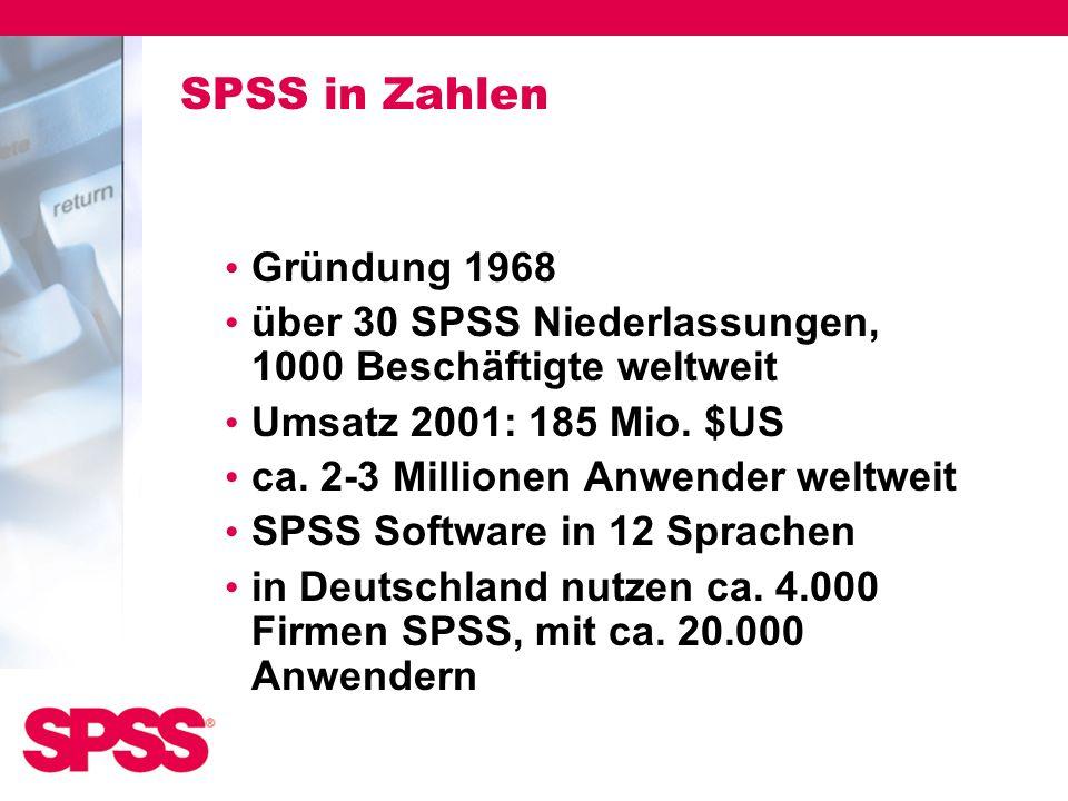SPSS in Zahlen Gründung 1968 über 30 SPSS Niederlassungen, 1000 Beschäftigte weltweit Umsatz 2001: 185 Mio. $US ca. 2-3 Millionen Anwender weltweit SP