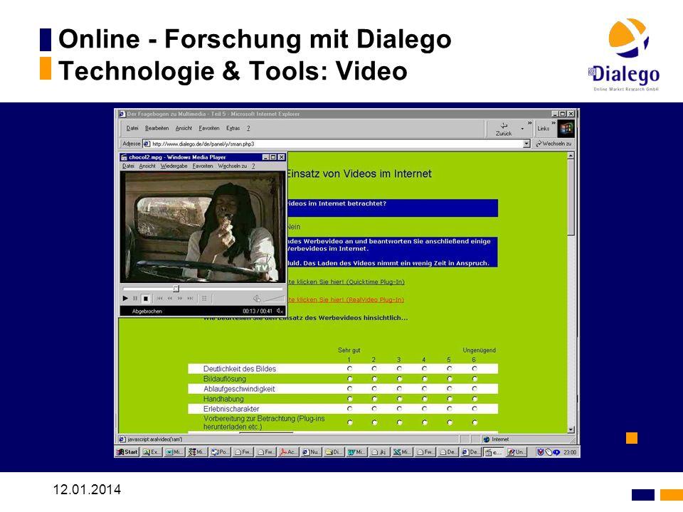 12.01.2014 Online - Forschung mit Dialego Technologie & Tools: Video