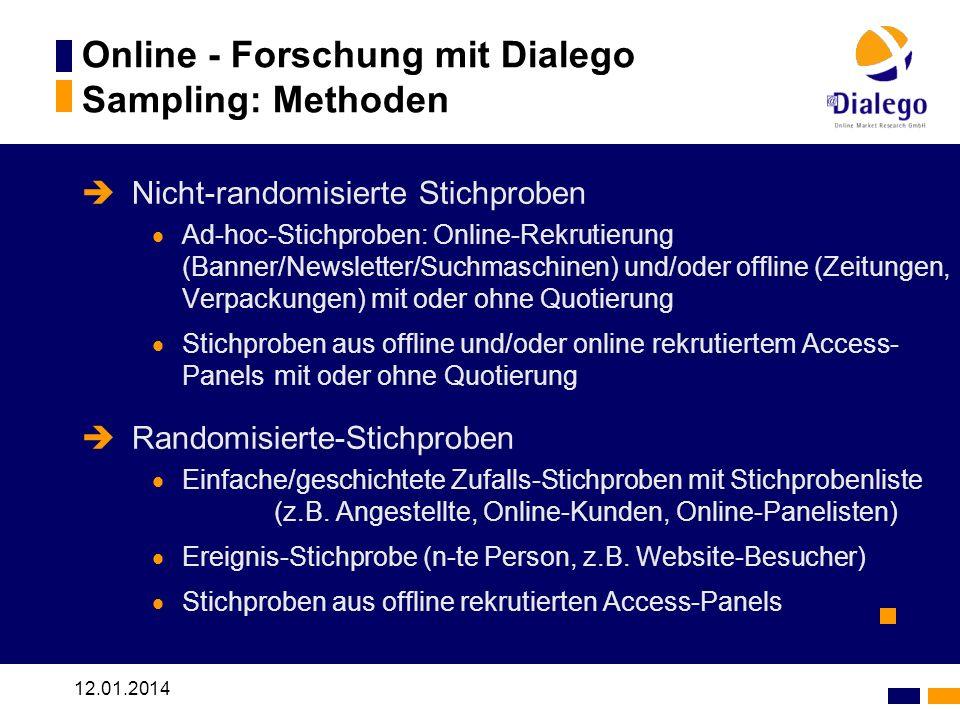 12.01.2014 Online - Forschung mit Dialego Sampling: Methoden Nicht-randomisierte Stichproben Ad-hoc-Stichproben: Online-Rekrutierung (Banner/Newslette