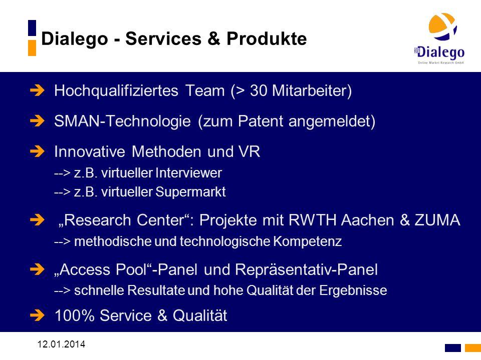 12.01.2014 Dialego - Services & Produkte Hochqualifiziertes Team (> 30 Mitarbeiter) SMAN-Technologie (zum Patent angemeldet) Innovative Methoden und VR --> z.B.