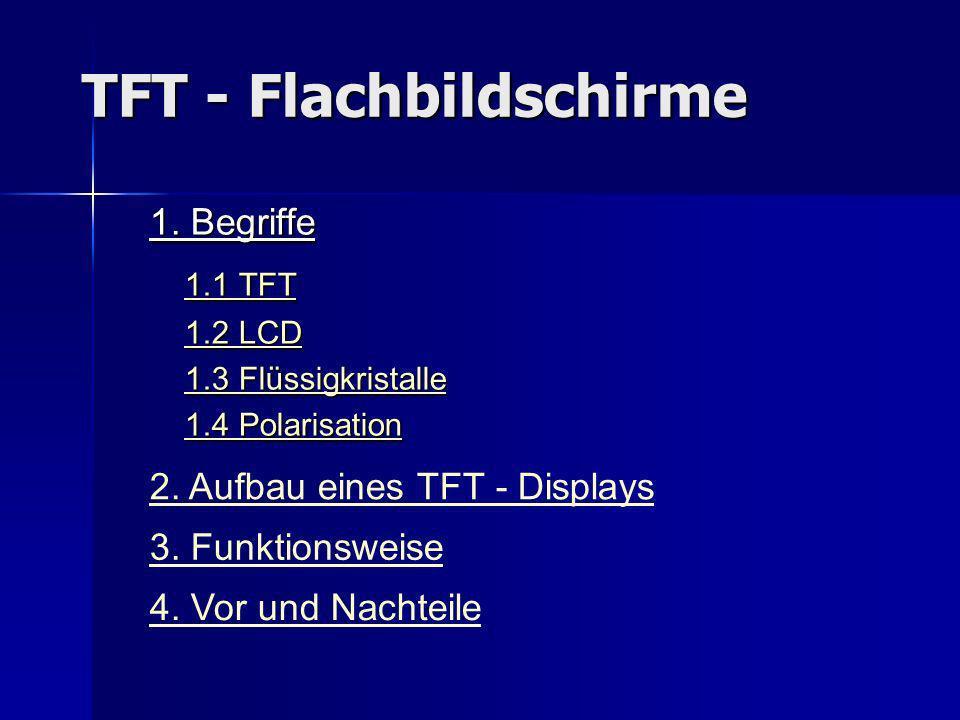 TFT - Flachbildschirme 1. Begriffe 1.1 TFT 1.1 TFT 1.1 TFT 1.1 TFT 1.2 LCD 1.2 LCD1.2 LCD1.2 LCD 1.3 Flüssigkristalle 1.3 Flüssigkristalle1.3 Flüssigk