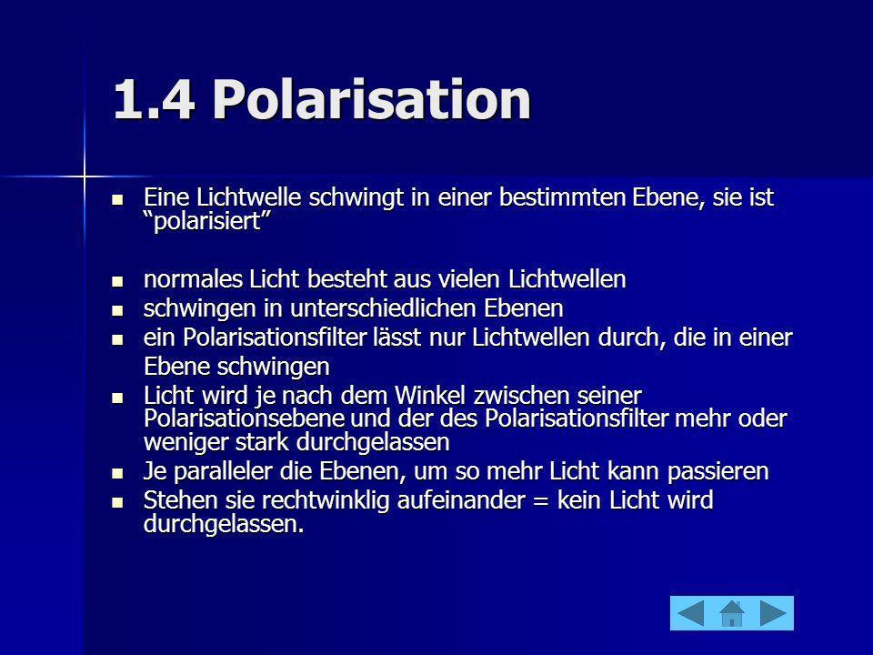 1.4 Polarisation Eine Lichtwelle schwingt in einer bestimmten Ebene, sie ist polarisiert Eine Lichtwelle schwingt in einer bestimmten Ebene, sie ist p