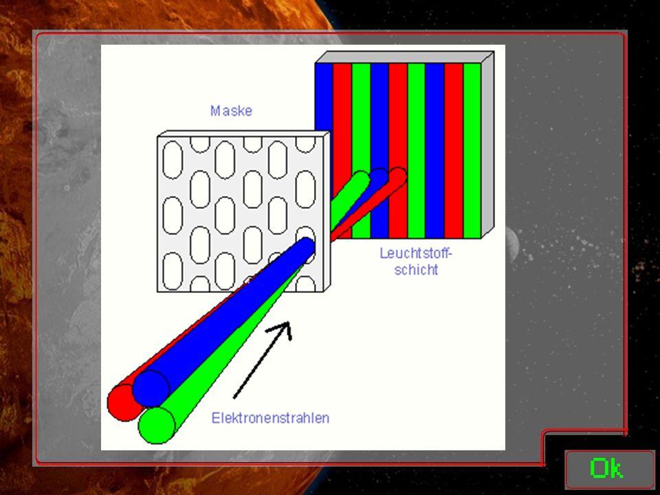 Schlitzmaske: Kombination aus Loch- und Streifenmaske Hat ovale Öffnungen Bildschirme haben drei Elektronenkanonen Sind in Reihe angeordnet Deshalb Inline-Röhre Wenig Fläche -> weniger Wärme