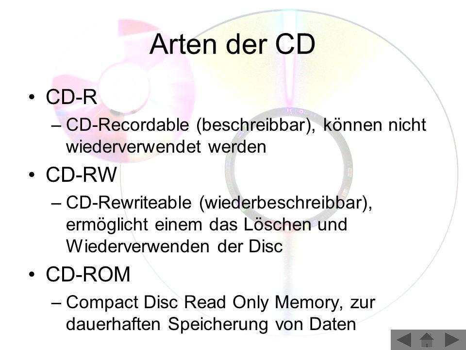 Arten der CD CD-R –CD-Recordable (beschreibbar), können nicht wiederverwendet werden CD-RW –CD-Rewriteable (wiederbeschreibbar), ermöglicht einem das