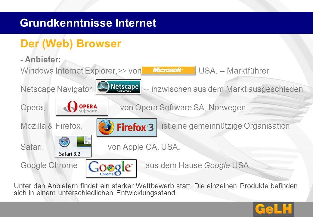 Der (Web) Browser - Anbieter: Windows Internet Explorer,>> von USA. -- Marktführer Netscape Navigator, -- inzwischen aus dem Markt ausgeschieden Opera