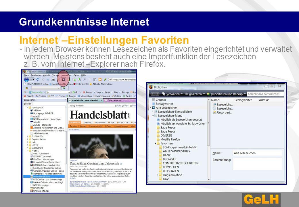 Internet –Einstellungen Favoriten - in jedem Browser können Lesezeichen als Favoriten eingerichtet und verwaltet werden.